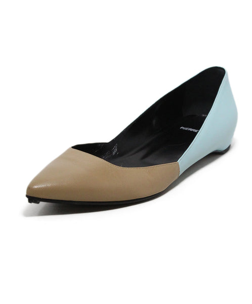 Pierre Hardy Blue Tan Leather Flats 1
