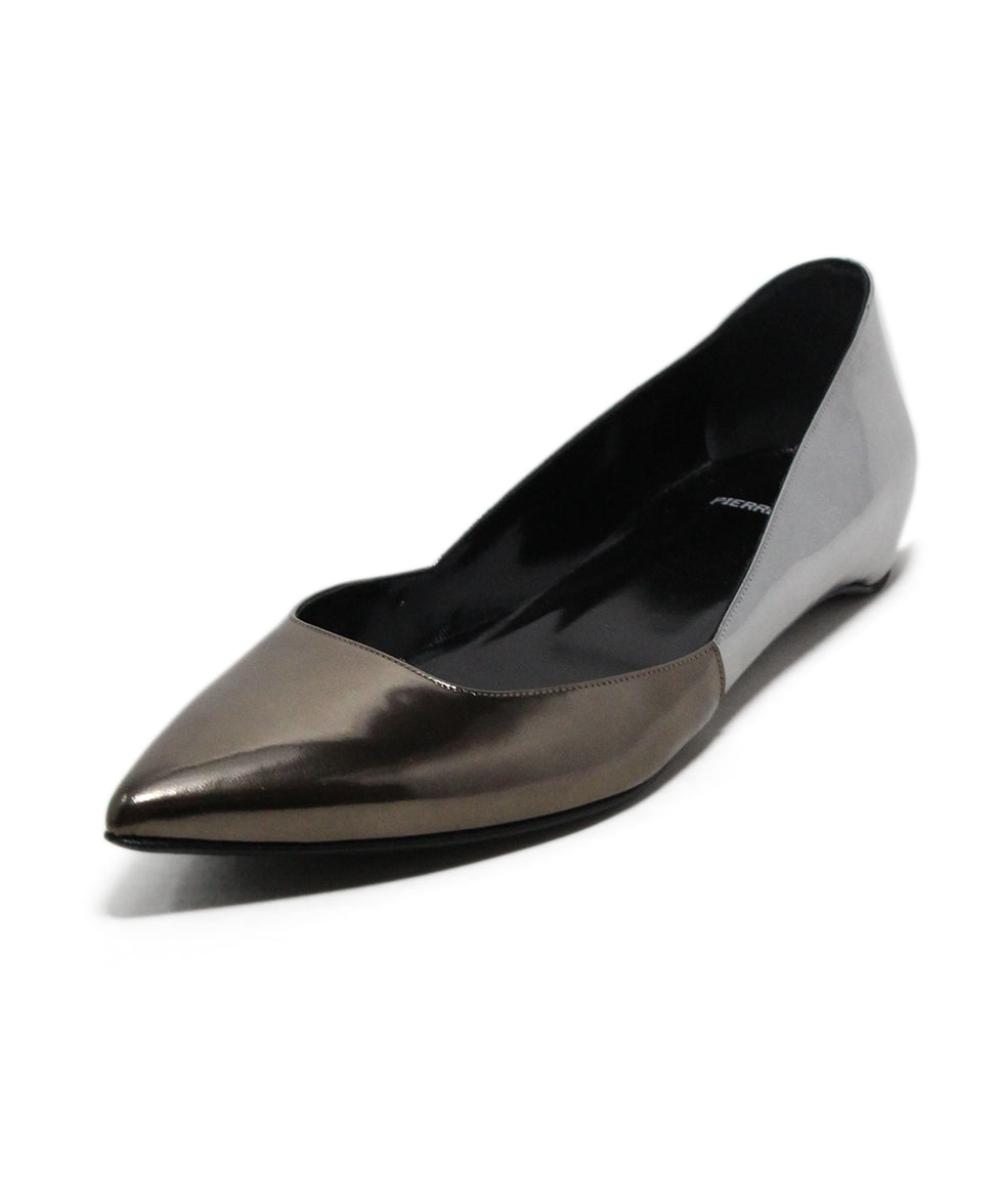 Pierre Hardy Metallic Pewter Leather Flats 1