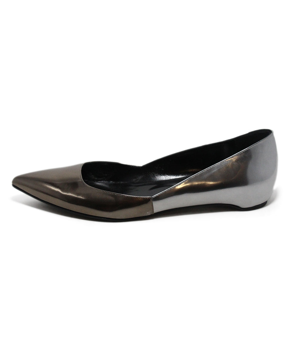 Pierre Hardy Metallic Pewter Leather Flats 2