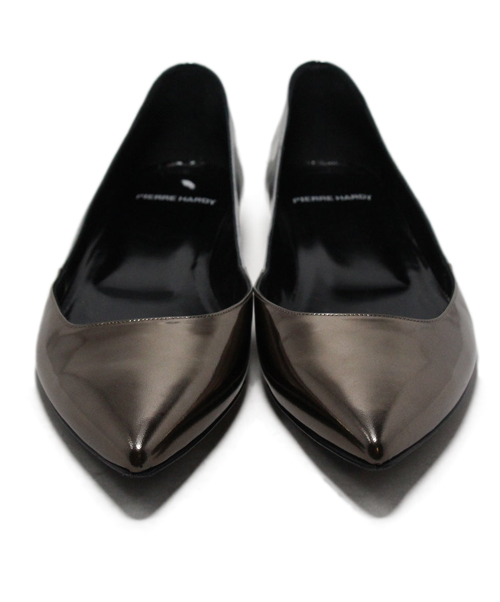 Pierre Hardy Metallic Pewter Leather Flats 4