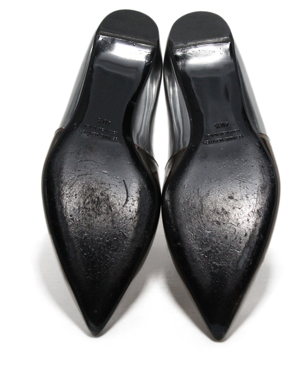 Pierre Hardy Metallic Pewter Leather Flats 5