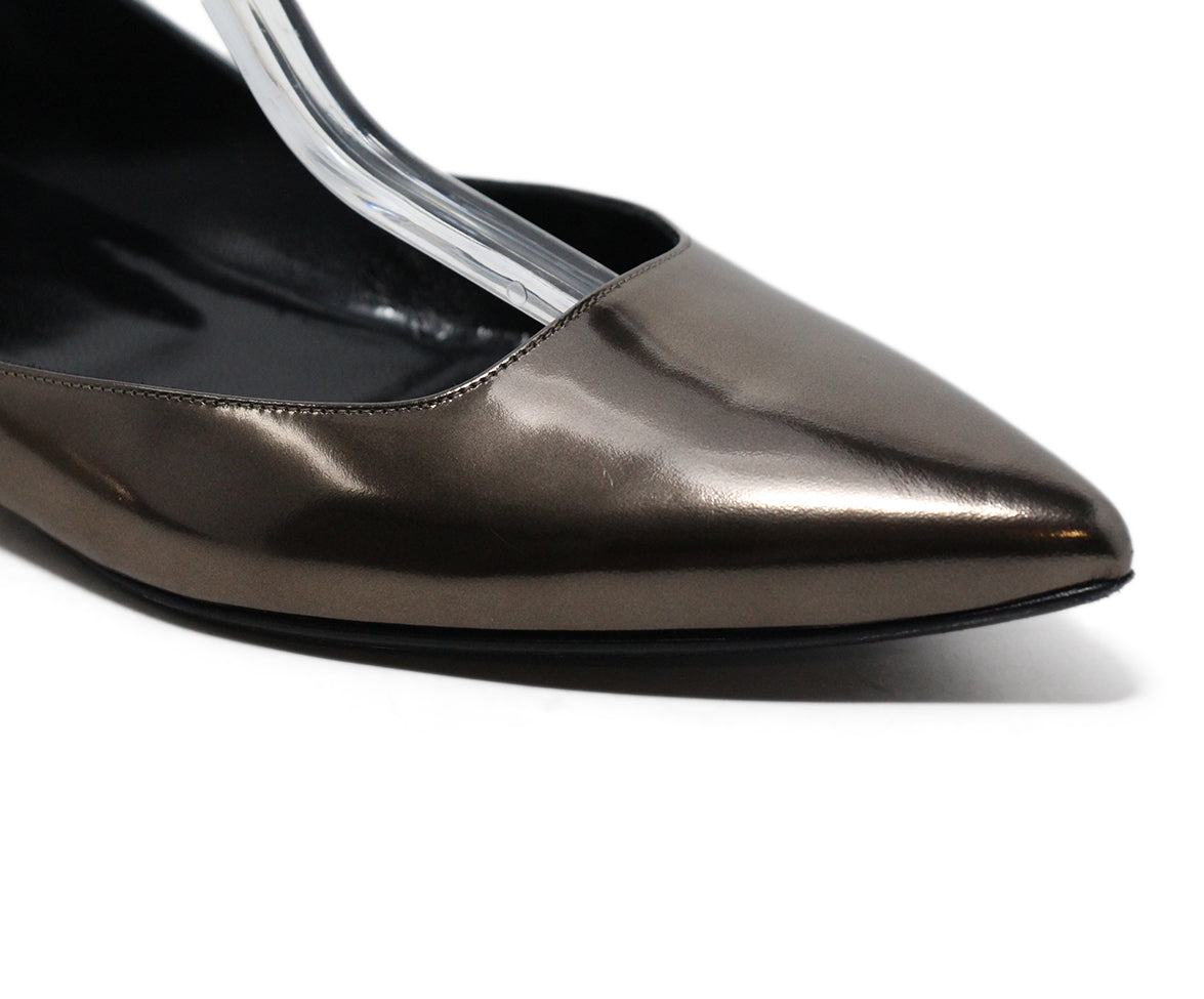 Pierre Hardy Metallic Pewter Leather Flats 8