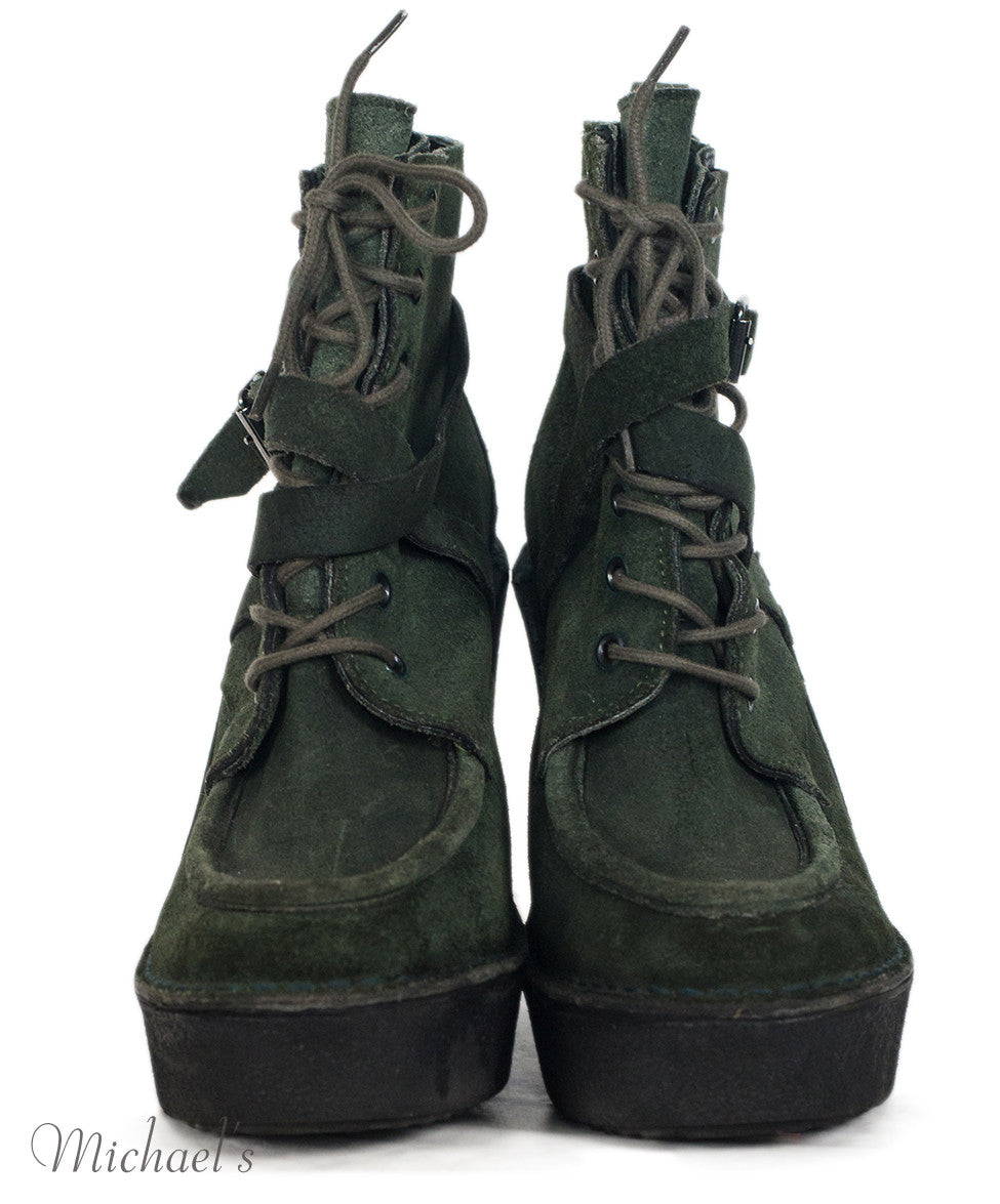 Pierre Hardy Olive Suede Lace-up Boots Sz 39 - Michael's Consignment NYC  - 3