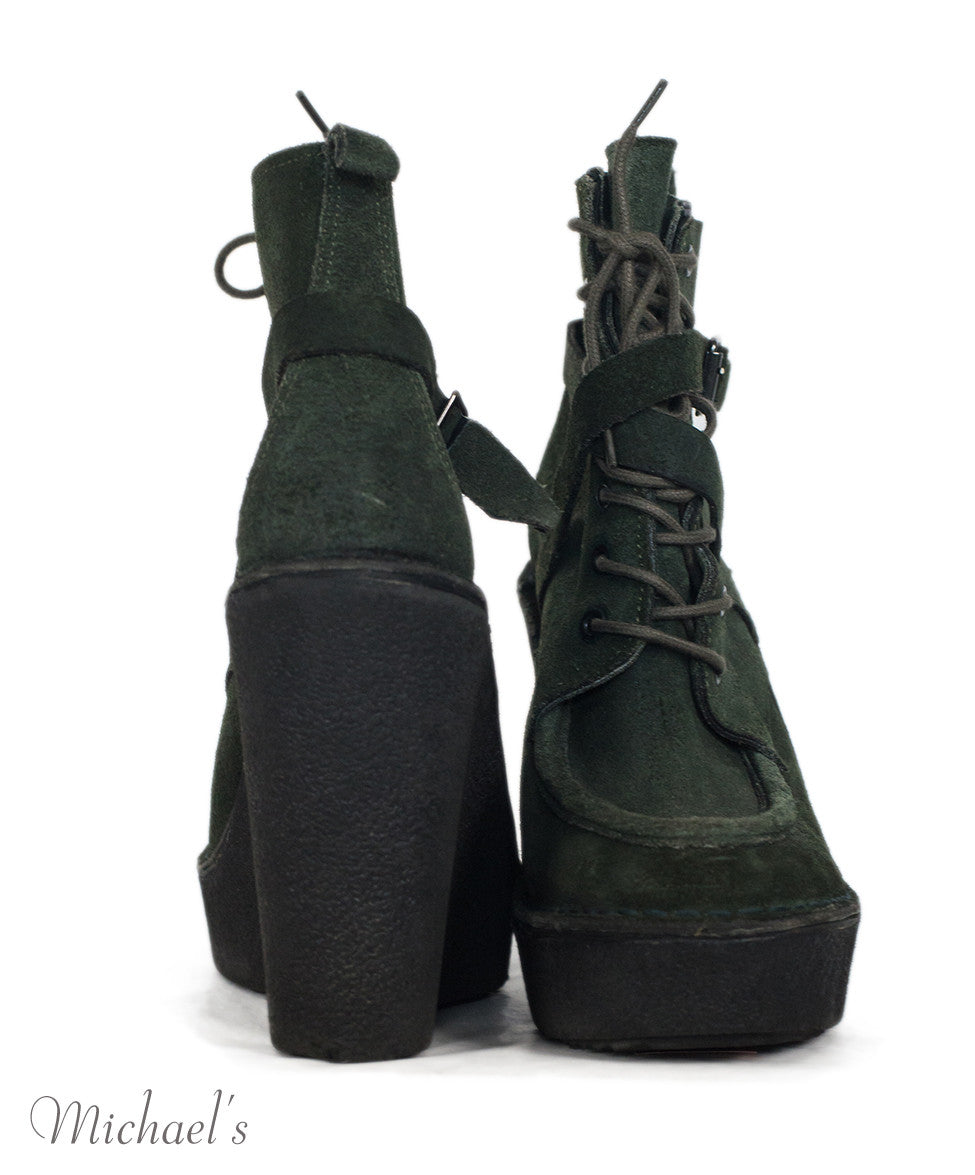 Pierre Hardy Olive Suede Lace-up Boots Sz 39 - Michael's Consignment NYC  - 4
