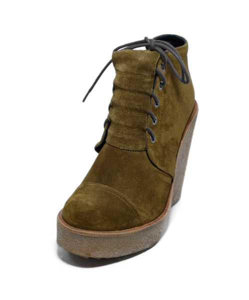 Pierre Hardy Brown Mustard Suede Lace Up Wedge Booties 1