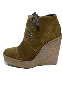 Pierre Hardy Brown Mustard Suede Lace Up Wedge Booties 2