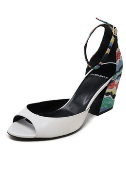 Pierre Hardy White Leather Multi Colored Suede Heel Sandals