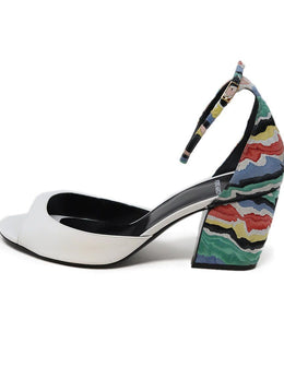 Pierre Hardy White Leather Multi Colored Suede Heel Sandals 1