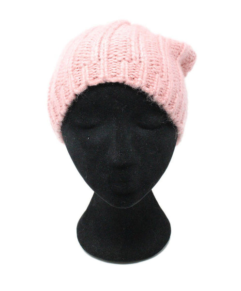 Pink Knit Multicolor Pom Poms Hat