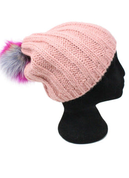 Pink Knit Multicolor Pom Poms Hat 1