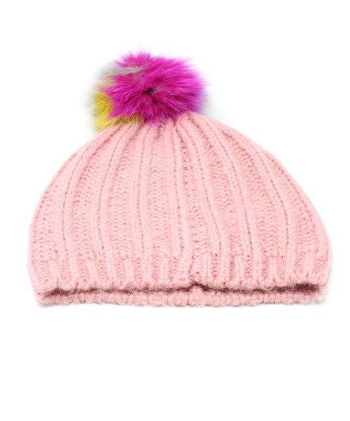 Pink Knit Multicolor Pom Poms Hat 3