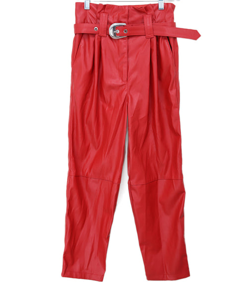 Pinko Red Faux Leather Pants