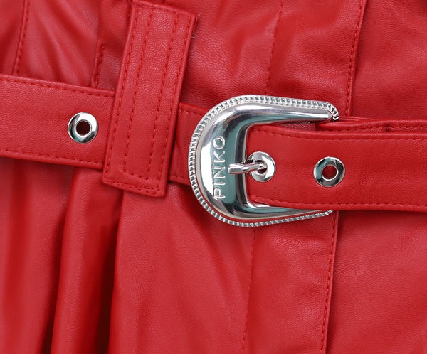 Pinko Red Faux Leather Pants 3