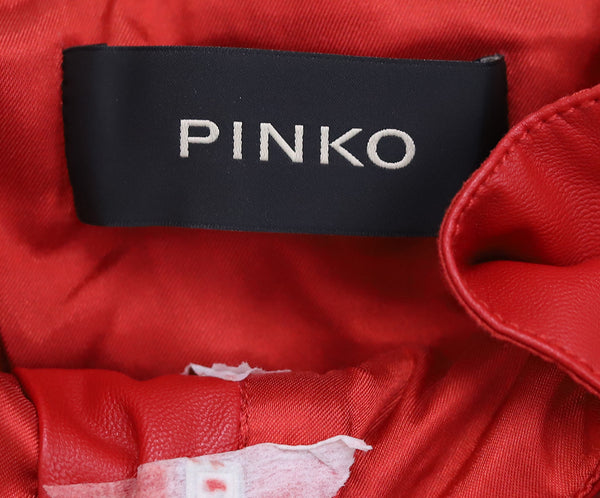 Pinko Red Faux Leather Pants 2