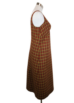 Plan C Brown Yellow Plaid Wool Dress 2