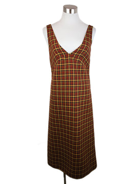 Plan C Brown Yellow Plaid Wool Dress 1
