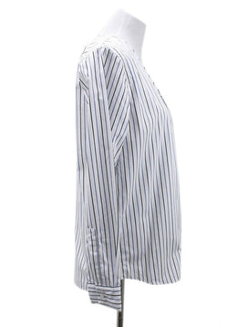 Plan C White Blue Stripes Blouse 1