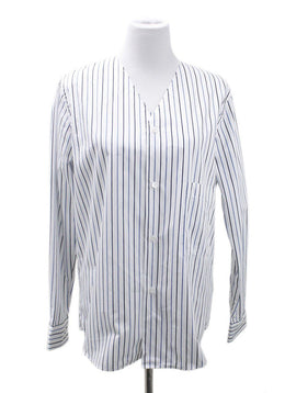 Plan C White Blue Stripes Blouse
