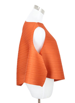 Pleats Please Orange Plated Polyester Top 2