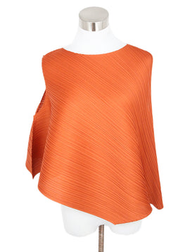 Pleats Please Orange Plated Polyester Top 1