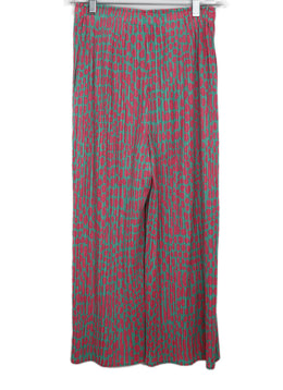 Pleats Please Pink and Green Polka Dot Pleated Pants 1