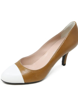 Pollini Tan White Leather Heels 1