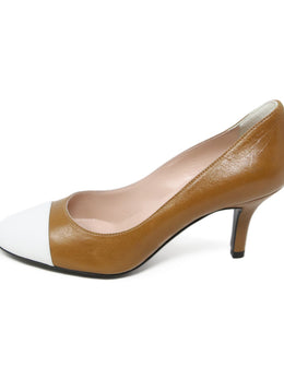 Pollini Tan White Leather Heels 2