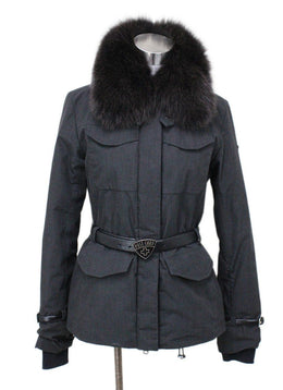 Postcard Black Charcoal Polyester Mink Collar Coat Sz 6