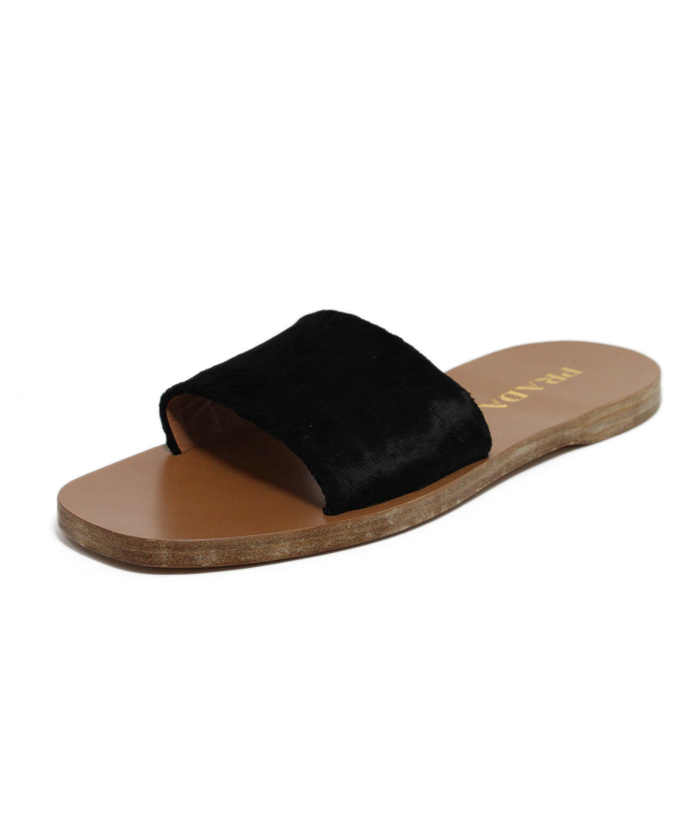 Prada Black Fur Sandals 1