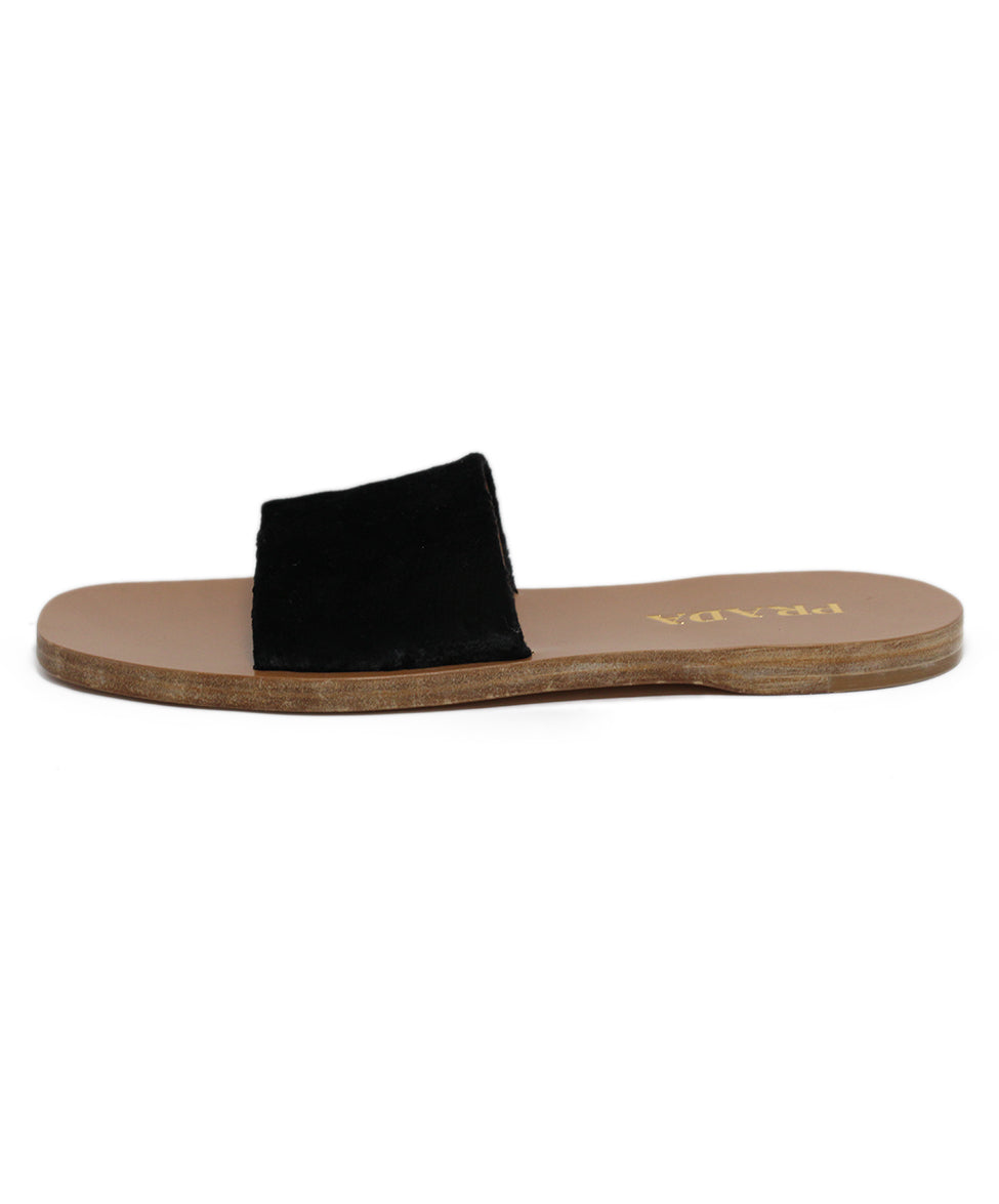 Prada Black Fur Sandals 2