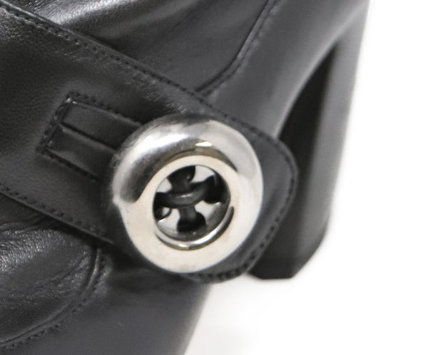 Prada Black Leather Button Strap Boots 5