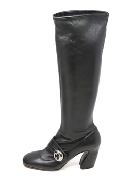 Prada Black Leather Button Strap Boots 2