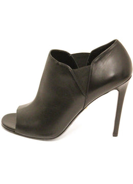 Prada Black Leather Peep Toe Booties Sz 10.5