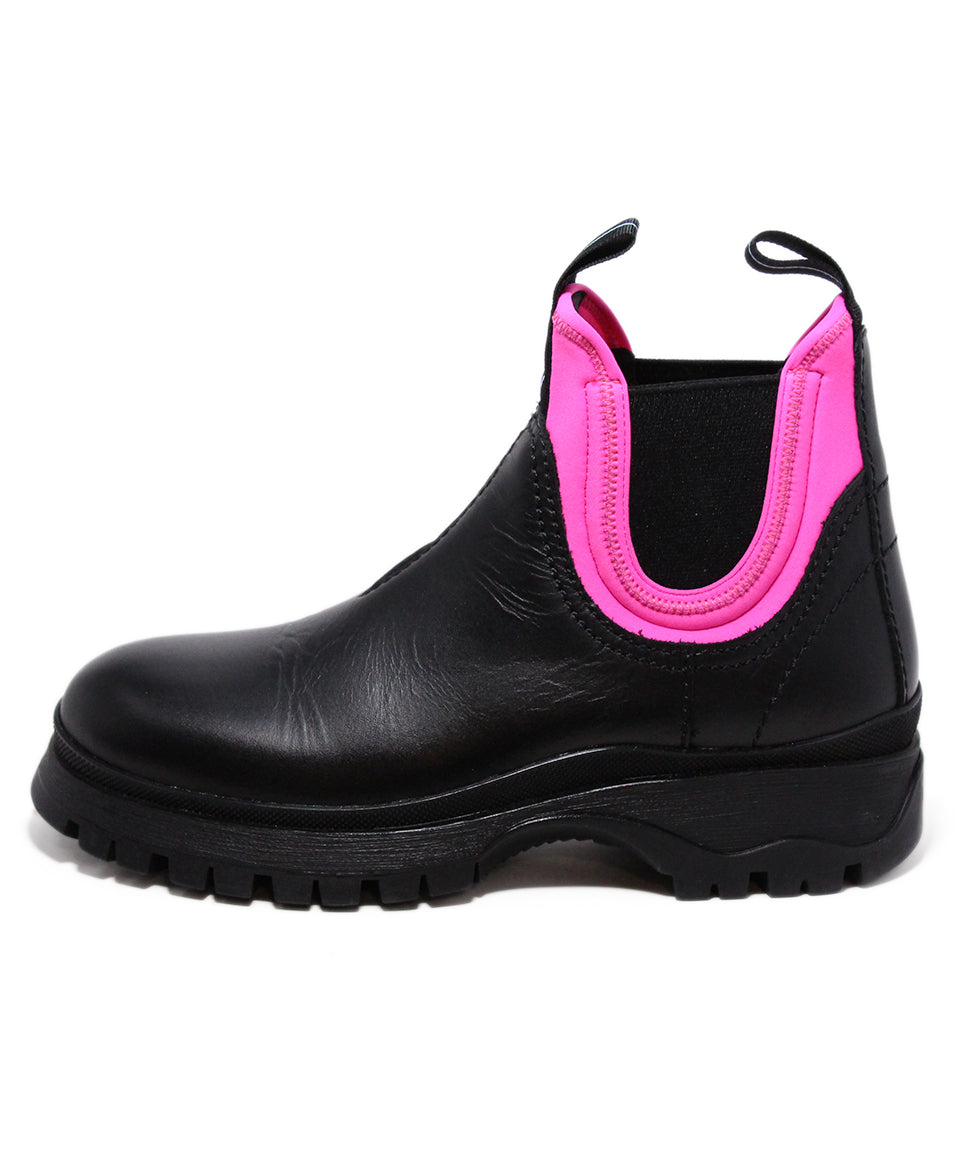 Prada Black Leather Pink Neon Trim Booties 2