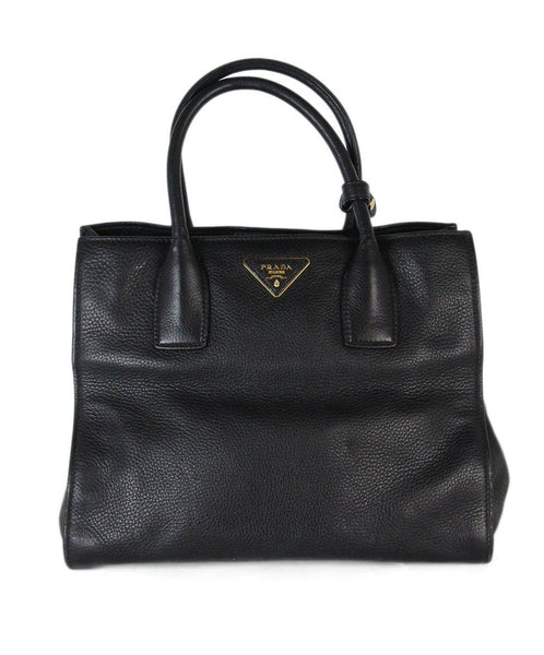 Prada Black Leather Tote 1