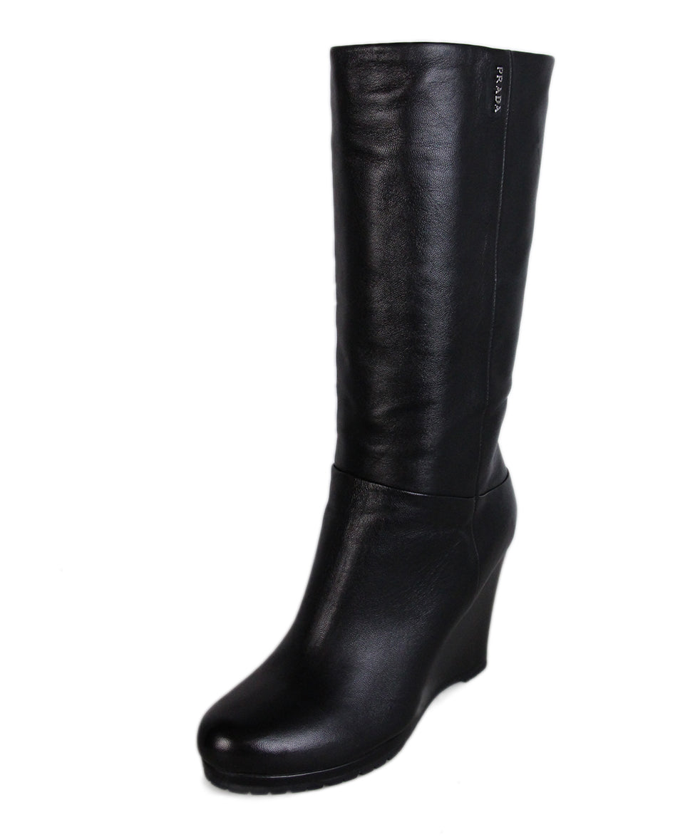 Prada Black Leather Wedge Boots 1