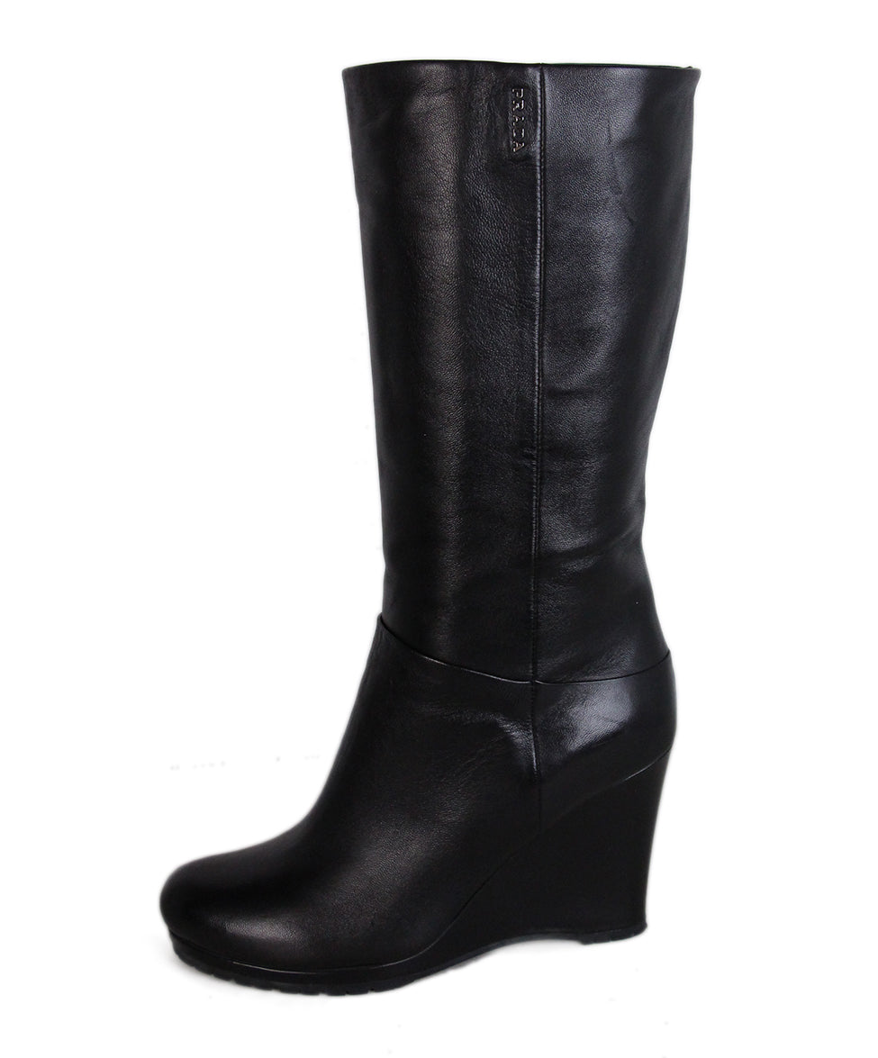 Prada Black Leather Wedge Boots 2