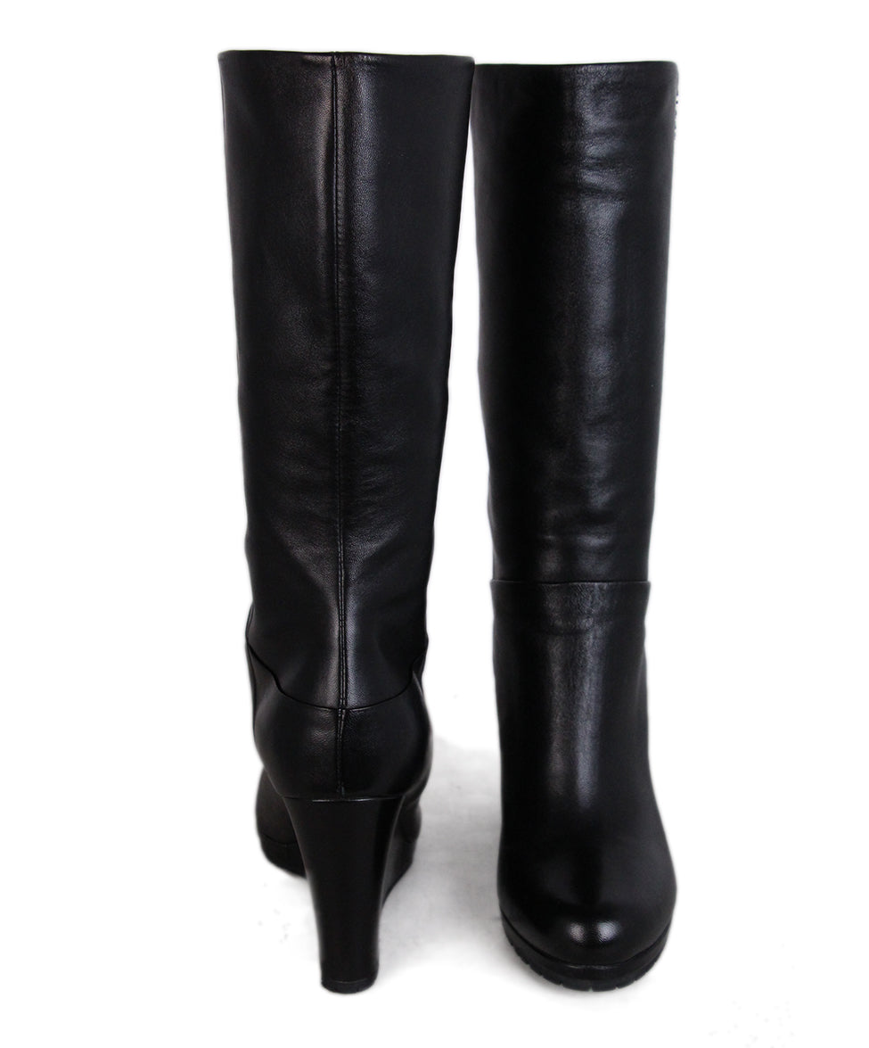 Prada Black Leather Wedge Boots 3