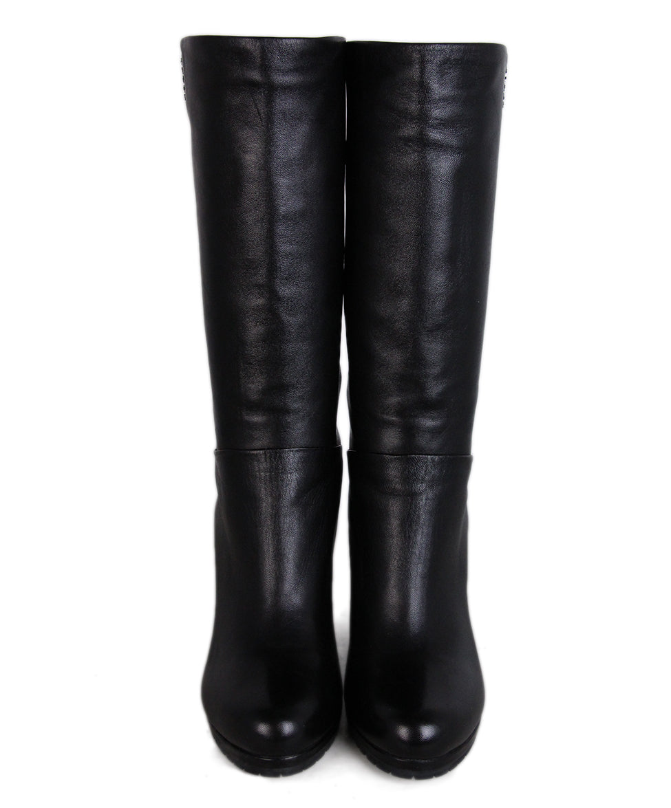 Prada Black Leather Wedge Boots 4