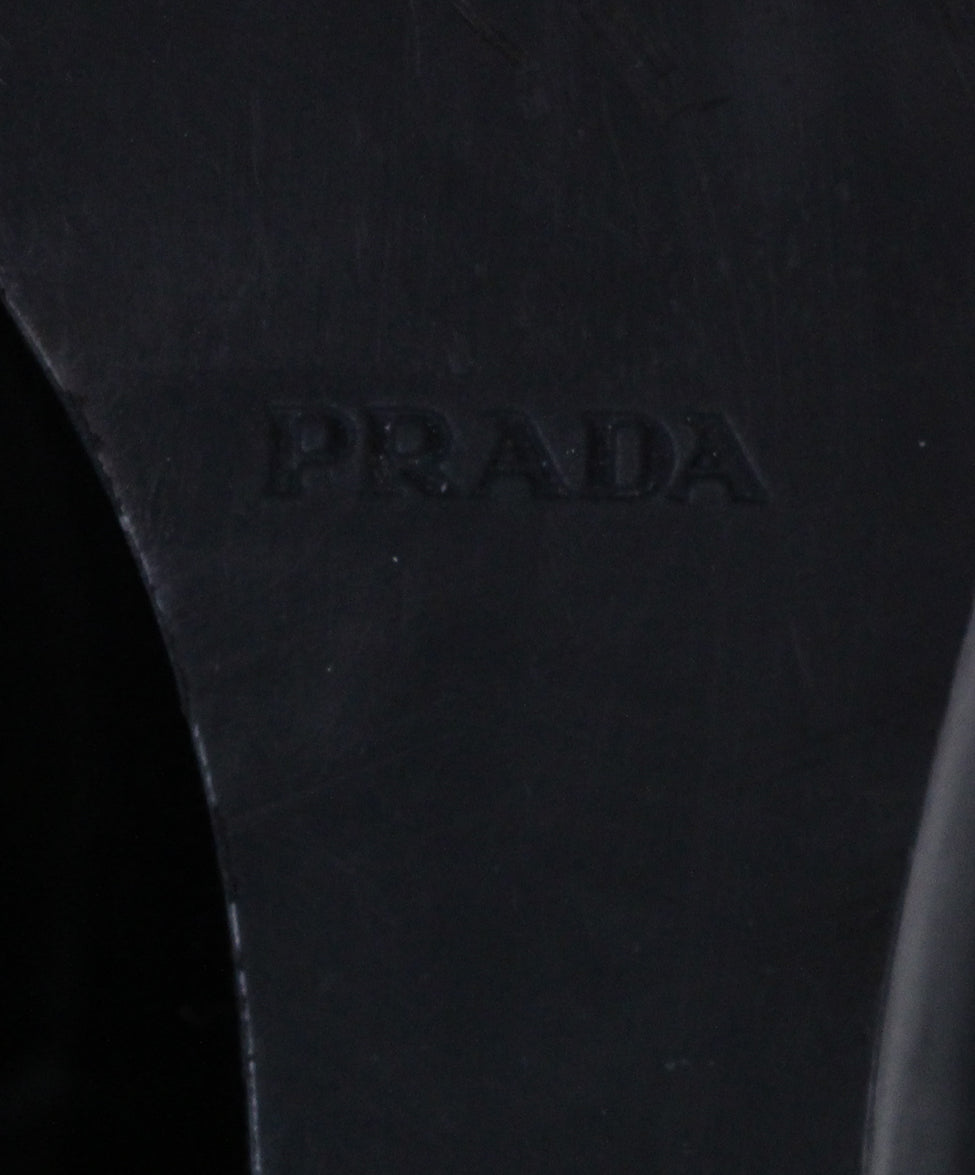Prada Black Leather Wedge Boots 6
