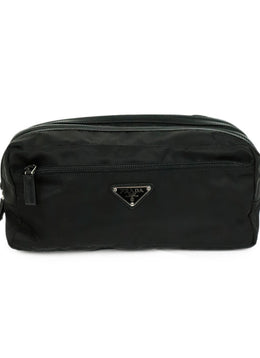 Prada Black Nylon Leather Trim Large Cosmetic Pouch Clutch 1