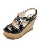 Prada Black Patent Leather White Stitching Wedges 1