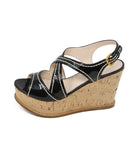 Prada Black Patent Leather White Stitching Wedges 2