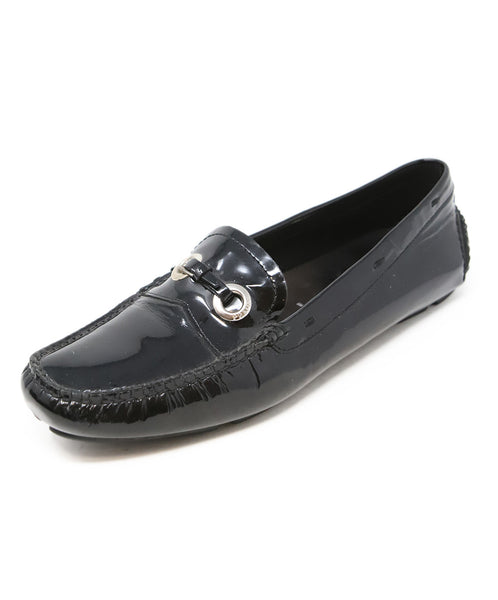 Prada Black Patent Leather Loafers with Buckle Detail 1