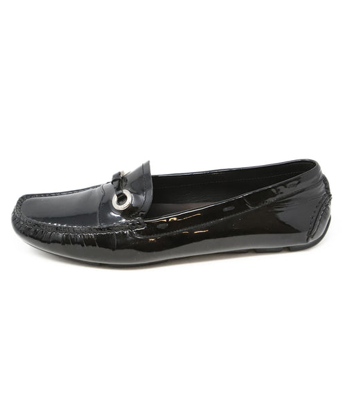 Prada Black Patent Leather Loafers with Buckle Detail 2