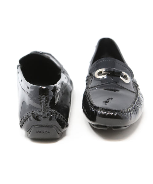 Prada Black Patent Leather Loafers with Buckle Detail 3