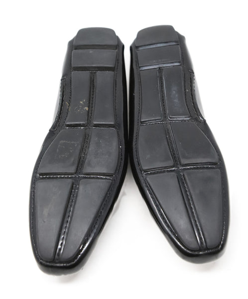 Prada Black Patent Leather Loafers with Buckle Detail 4