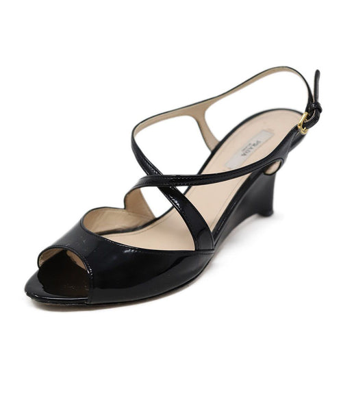 Sandals Prada Shoe Black Patent Leather Wedge Shoes 1