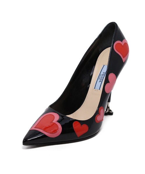 Prada Black Red Heart leather Heels 1