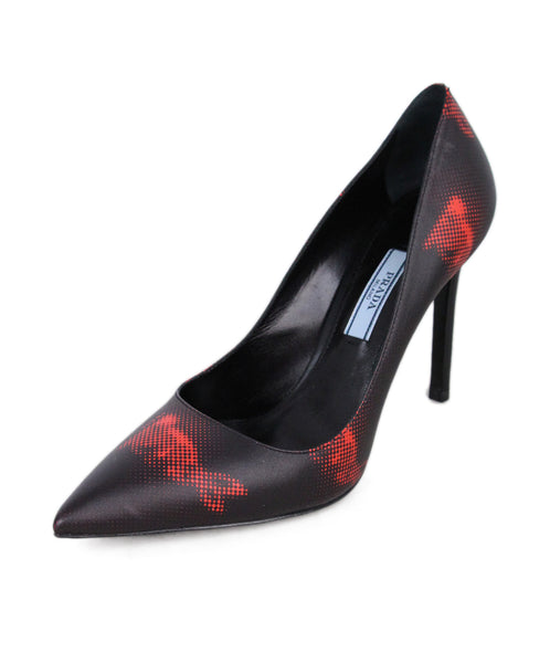 Prada Black Red Leather Heels 1